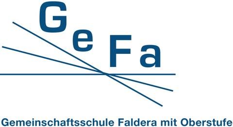 Blau weißes Logo mit den Buchstaben G e F a und drei gekreuzten Strichen